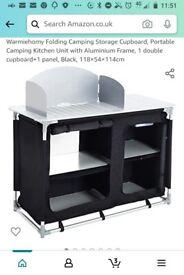 Camping kitchen storage cupboard