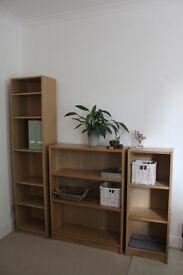 Set of veneer timber bookcases / book shelves / shelving units