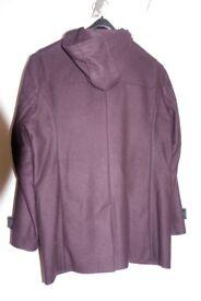 Reiss burgundy mens coat with hood