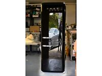 SMEG Fridge Freezer. Black, 180cm, Fridge at top, Right side hinge, 1950s style