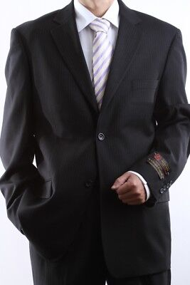 MENS SUPER 150S 2 BUTTON BLACK PINSTRIPE DRESS SUIT 42L, PL-63012F-BLK