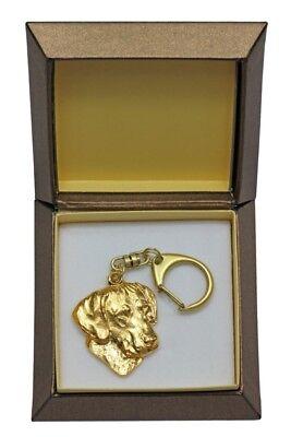 Rhodesian Ridgeback - gold plated keyring with image of a dog,in box, ArtDog USA