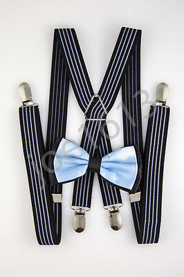 Periwinkle Center Black Back Bow Tie Navy Blue Periwinkle Suspender Set SDBT124