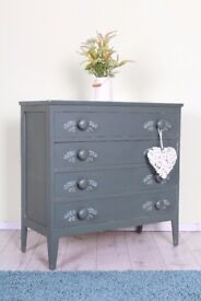 DELIVERY OPTIONS - 4 DRAWER PAINTED CHEST OF DRAWERS CHUNKY HANDLES RUSTIC
