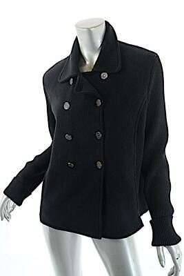100% Polyester Knit Jacket (SONIA RYKIEL JEANS Black 100% Polyester Fleece/Wool Blend Rib Knit Jacket  Sz L )