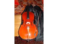 3/4 Size Deluxe Cello by Gear4music. Archer 34C-500 model. Canadian Spruce & Maple. Beautiful cello