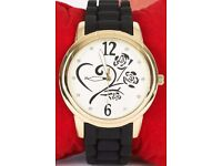 Heart And Roses Detail Watch With Black Silicone Strap