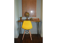 Rustic Chestnut Industrial Vintage Style Desk & Yellow Chair Hairpin Legs