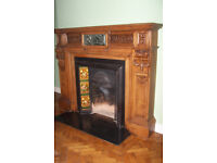 Antique, Oak, Fireplace Surround, Marble with intricate wooden carvings