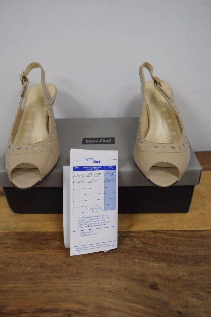 Ladies 'Selma' sling back shoes by Van Dal nude patent; heels size 4.5 Unworn, boxed cost £65