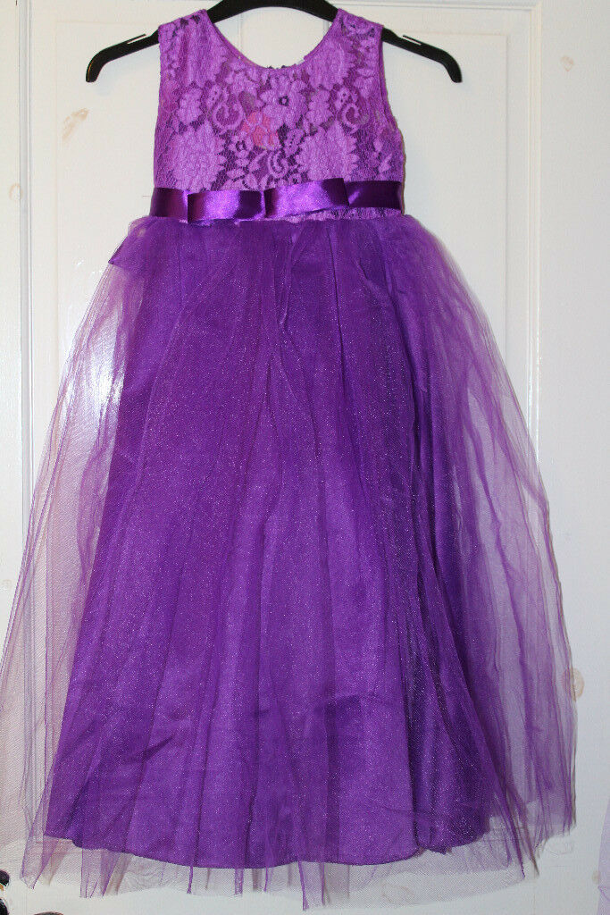 2 X purple flower girl / bridesmaids / party / princess / dressing ...
