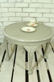 Ornate shabby chic circular coffee table with Queen Anne legs