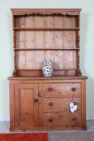 SOLID PINE 4 FT VICTORIAN DRESSER DRAWERS & CUPBOARD VERY RUSTIC - CAN COURIER