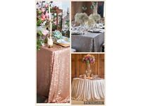 Stunning Sequin Glitter Tablecloths for hire *Weddings*