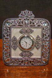 OLIVIA RIEGEL Crystal & Enamel Deco Desk Clock New in Box
