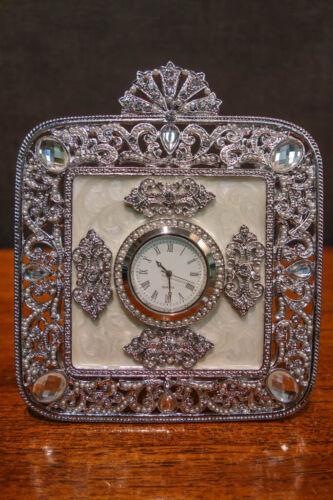 OLIVIA RIEGEL Crystal & Enamel Deco Desk Clock New in Box