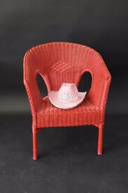 Upcycled Vintage Red Wicker Rattan Chair