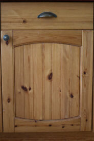 Pine Solid and Glazed Kitchen Cupboard Doors and Glass Shelves