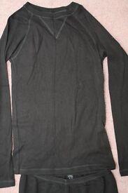 Ladies M&S Black L/S Thermal Top + Bottoms - Size 14