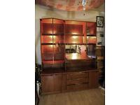 Retro Vintage Mirrored Teak Display Cabinet - Velvet Drawers, Foldout Drinks Storage, Mint condition