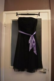 Size 14 Black Prom Style Evening Dress with Purple Silk Ribbon Belt