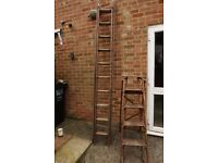 a wooden 9 feet extension ladder and a wooden step ladder Sold together