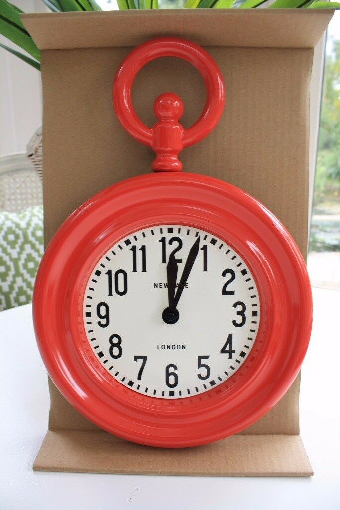New red fob Wall Clock by Newgate in box