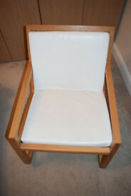 Habitat Rocker Rocking Chair - Natural Oak - White Leather - Excellent Condition