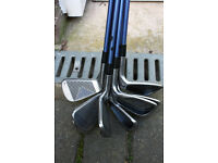Ladies golf clubs, graphite shaft iron set. Howson Fire Blades. New grips fitted.