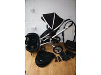Black Silver Cross Surf 2 pram with carrycot and car seat 3 in 1 CAN POST
