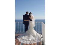 Beautiful Enzoani Kassandra Designer Fishtail Wedding Dress with Stunning Train
