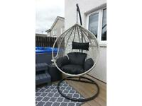 (FREE DELIVERY) Grey Rattan swinging egg chair w/ Black Cushion included.