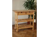 IKEA kitchen trolley, FÖRHÖJA, wooden kitchen trolley, birch wood