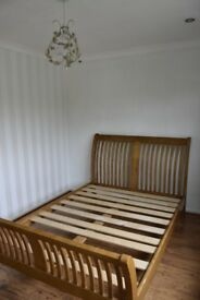 Solid Wooden Double Sleigh Bed - Heavy / Quality - Coalville- £60