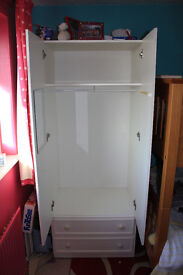 White Formica Wardrobe with storage shelf & 2 drawers