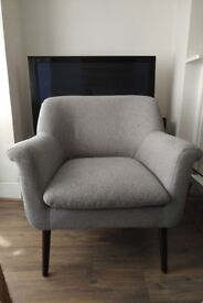 Grey fabric armchair in excellent condition