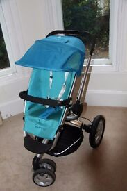 Quinny Buzz 3 in blue with pram. Used 1 year in non smoking pet free house