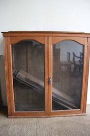 Oak Display or Book Case with Glass Doors and Pine Shelves