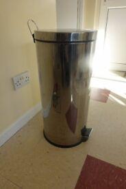 Chrome finish kitchen pedal waste bin