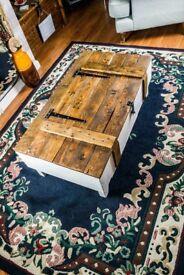handmade rustic coffee table/trunk