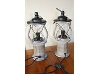 A pair of Gibson Lantern Table Lamps in Antique Wood