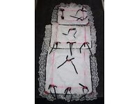 White / pink frilly laces Pram Quilt set *can post*