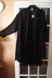 JACQUES VERT BLACK EVENING DRESS WITH DIAMANTE'S AND CHIFFON COAT SIZE 14