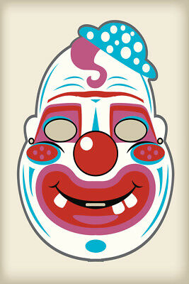 Creepy Clown Vintage Mask Decoration Halloween Costume Cutout Poster 12x18](Halloween Costume Poster)