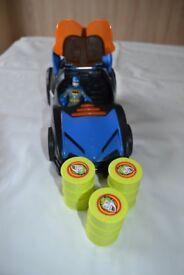 Imaginext superhero figures, car and bike
