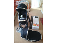 New Boxed iCandy Peach 2 Stroller/Pushchair in Black Magic, with New Carrycot and Accessories