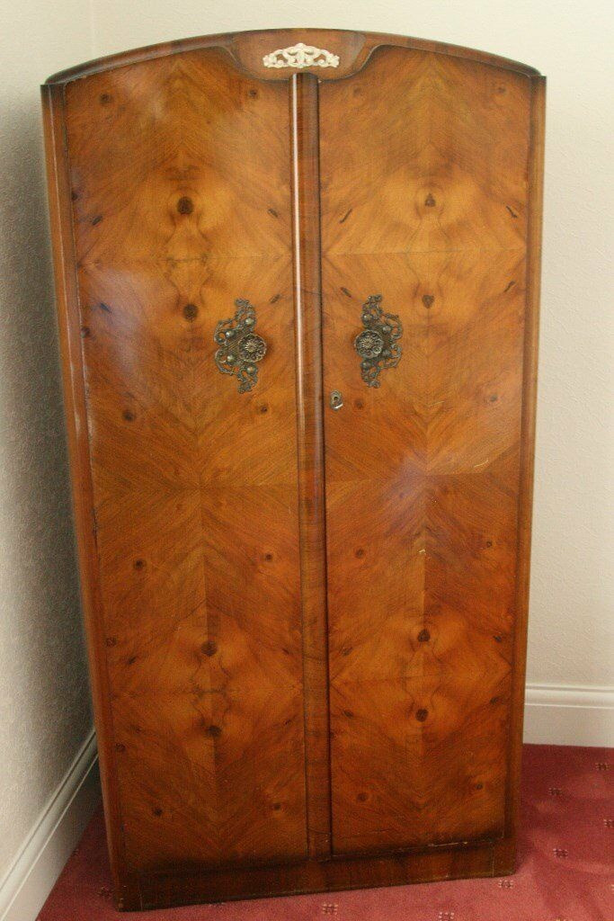 vintage antique furniture wardrobe walnut armoire. Vintage Walnut Bedroom Furniture Set - Ladies Wardrobe, Gents Wardrobe And Dressing Table Antique Armoire