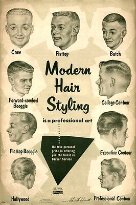 1950s Mens Hairstyles : Art Print :  Barber Hair Styles mid-century Hollywood