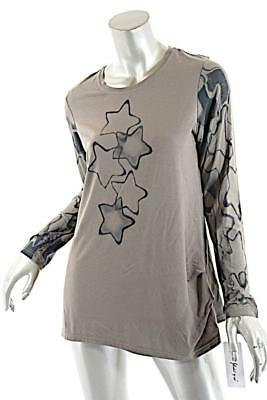 YOSHI YOSHI by PJ Taupe Lyocel Stretch Knit top w Teal STARS  NWT  $229  Sz 3 ML