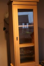 Display corner cabinet with draw, and extra cuboard for storage.